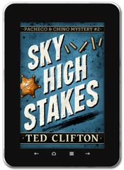 Mystery book cover design: Sky High Stakes